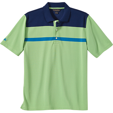 Brooks Brothers Men's Thin Stripe Colorblock Pique Short Sleeve Polo